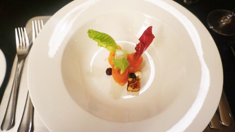 Cucumber Jelly, Cucumber Pearls, brioche Croutons, Creme Fraiche