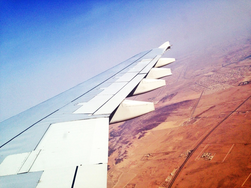 Foto diambil saat pesawat meninggalkan tanah Arab, perjalanan bersama Ibu 2014